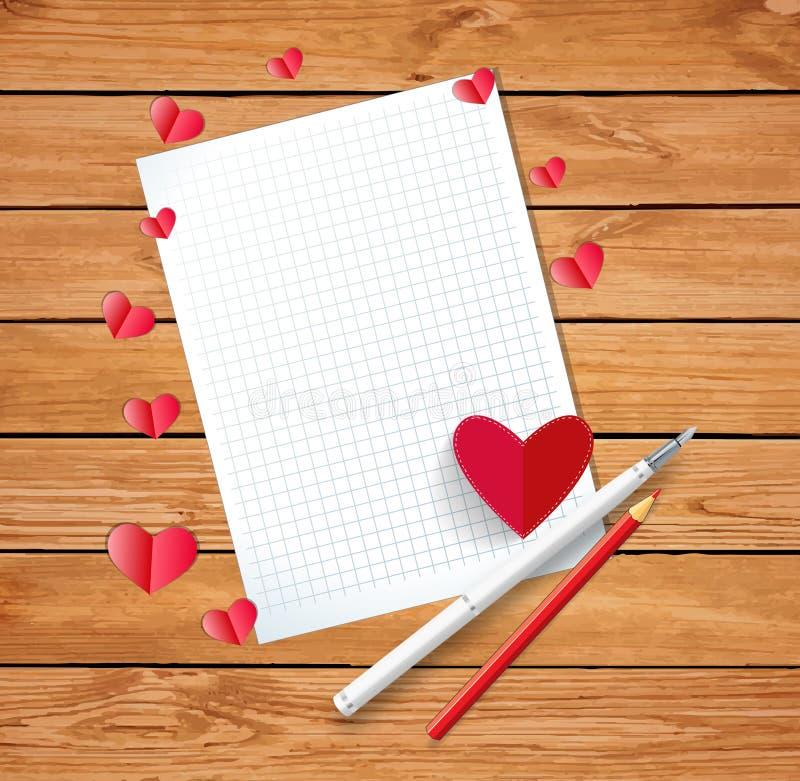 Valentine-kaart of de samenstelling van de liefdebrief met verspreide harten, royalty-vrije illustratie
