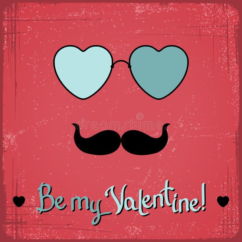 Valentine-kaart met glazen, hart en snor royalty-vrije illustratie