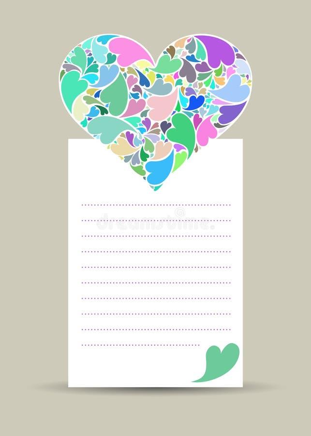 Valentine-kaart met haard van kleine harten wordt gemaakt dat royalty-vrije stock afbeeldingen