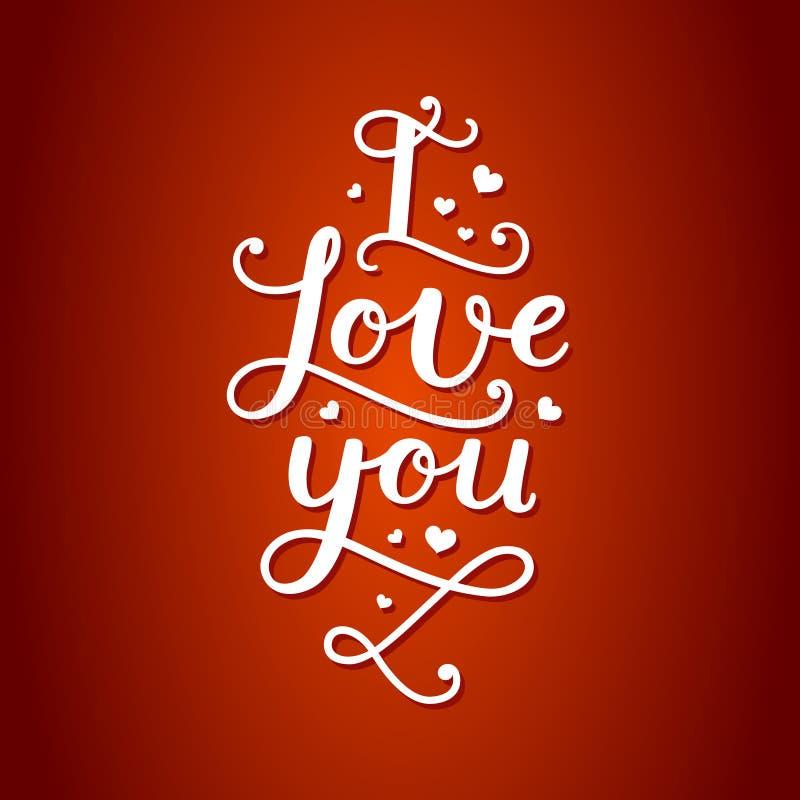Valentine-kaart met het handdrawn van letters voorzien stock illustratie