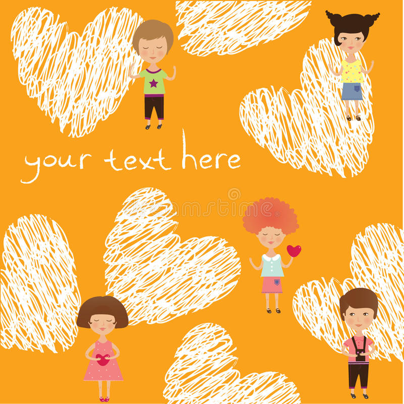 Valentine kids royalty free illustration