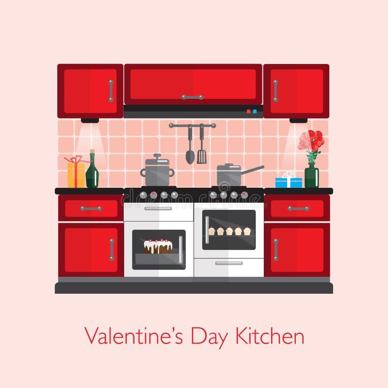 Valentine Kitchen vektor illustrationer