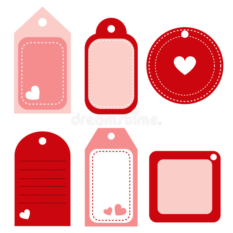 Valentine labels - vector. Set of six valentine labels-tag isolated on white background.EPS file available vector illustration