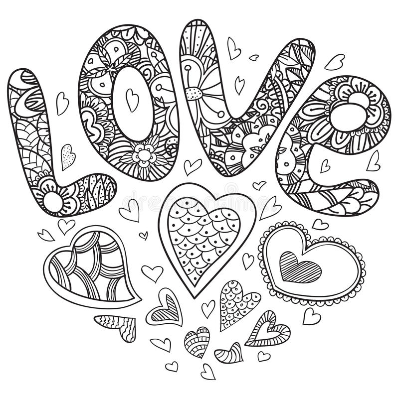 Valentine love card. Valentine day love card in doodle style. Black and wight, coloring page royalty free illustration
