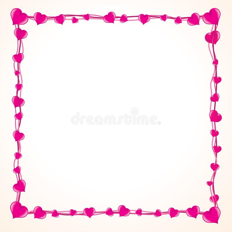 Valentine Love Frame with Lot of Pink Hearts vector illustration