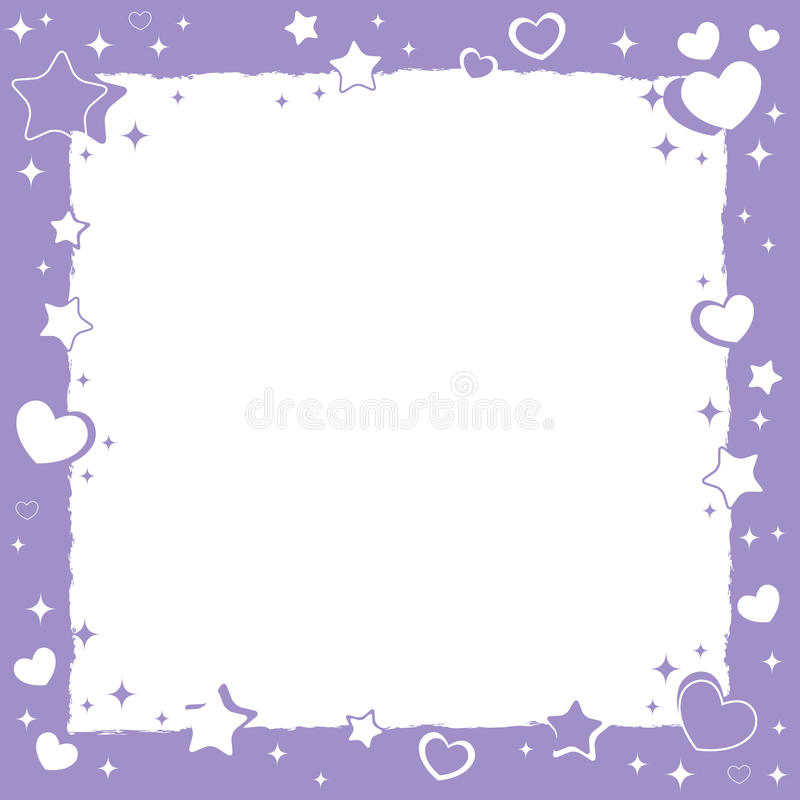 Valentine love romantic frame. With hearts and stars vector illustration
