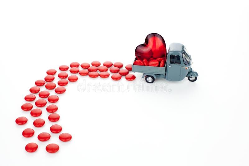 Valentine Love Truck stockbilder