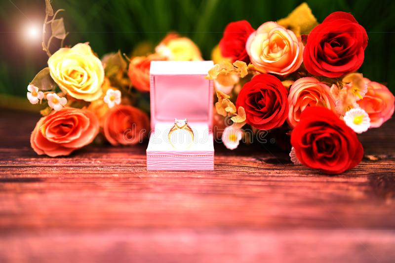 Valentine and lover wedding ring in romantic background stock photos