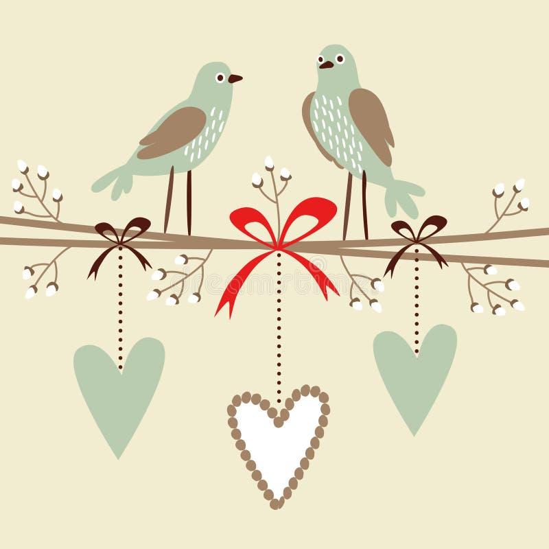 Valentine, mariage, carte d'anniversaire ou invitation avec des oiseaux, des coeurs, et des brindilles de fleur, fond illustré déc illustration libre de droits