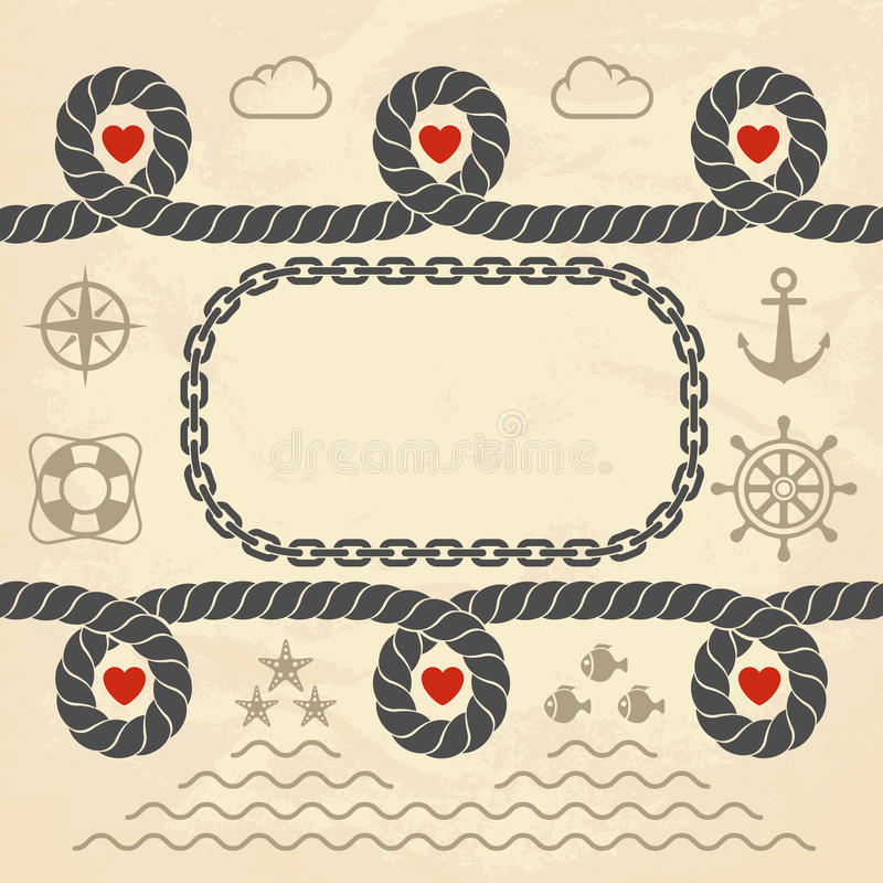 Download Valentine in marine style stock vector. Illustration of nautical - 25502050