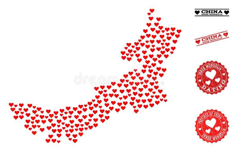 Valentine Mosaic Map de l'Inner Mongolia et des timbres grunges pour des valentines illustration de vecteur