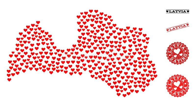 Valentine Mosaic Map van de Zegels van Letland en Grunge-voor Valentijnskaarten vector illustratie