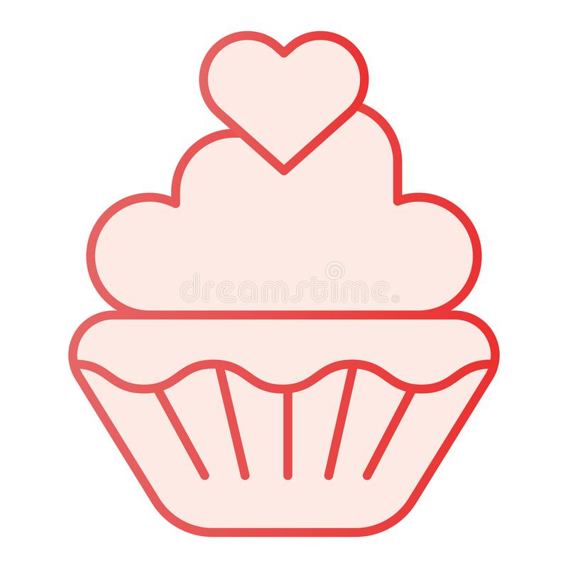 Valentine muffin flat icon. Sweet cupcake pink icons in trendy flat style. Cake with heart gradient style design royalty free illustration