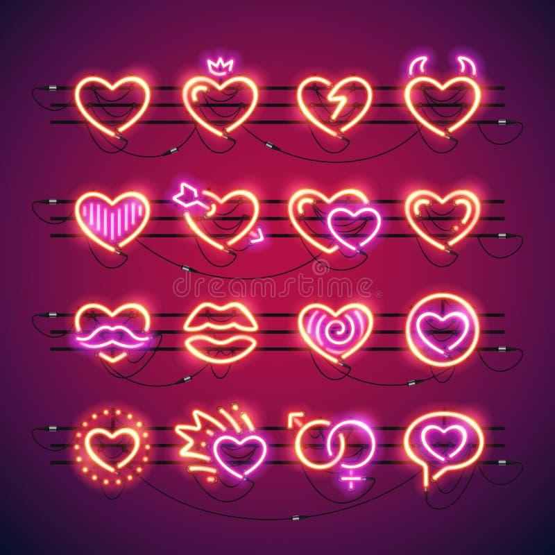 Valentine Neon Hearts stock de ilustración