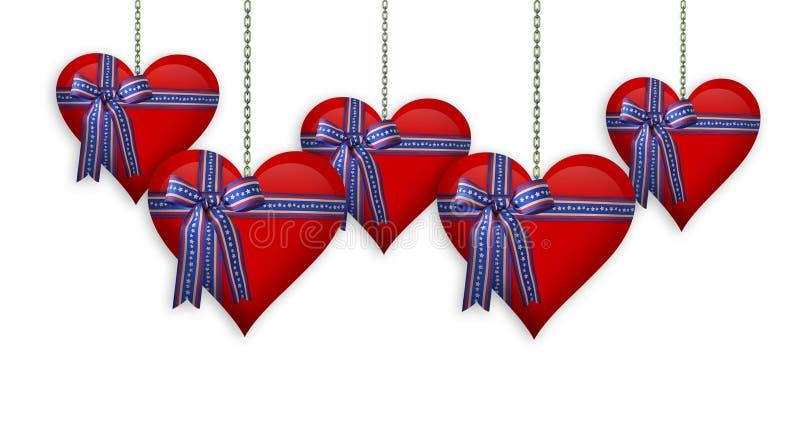 Valentine ou 4ème du cadre de coeurs de juillet illustration de vecteur