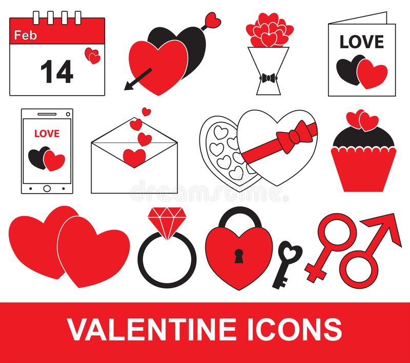 Valentine ou ensemble de jour de valentines, paquet ou collection illustration de vecteur
