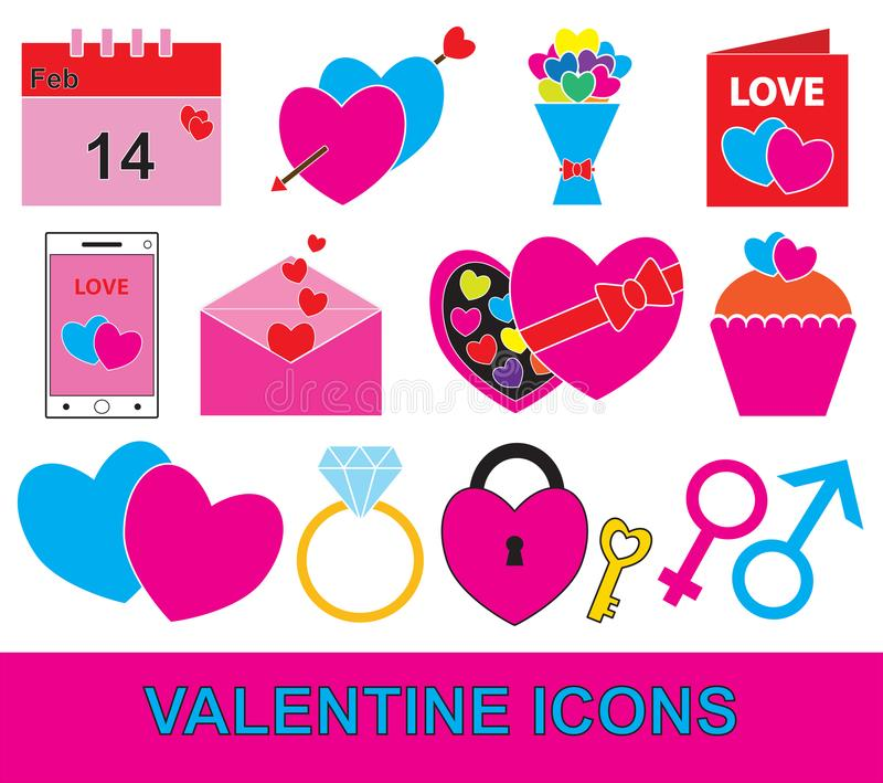 Valentine ou ensemble de jour de valentines, paquet ou collection illustration libre de droits