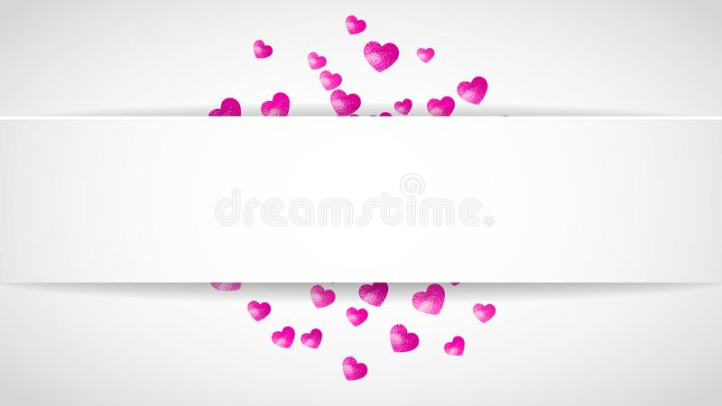 Valentines paper frame with gold glitter hearts. February 14th day. Vector confetti for valentine paper frame. vector illustration