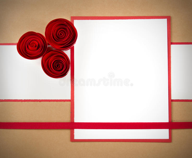 Valentine paper rosettes, with copyspace stock photo