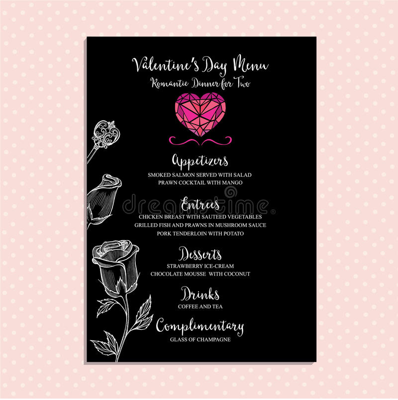 Valentine Party Invitation Restaurant. Food Flyer. Stock Vector ...