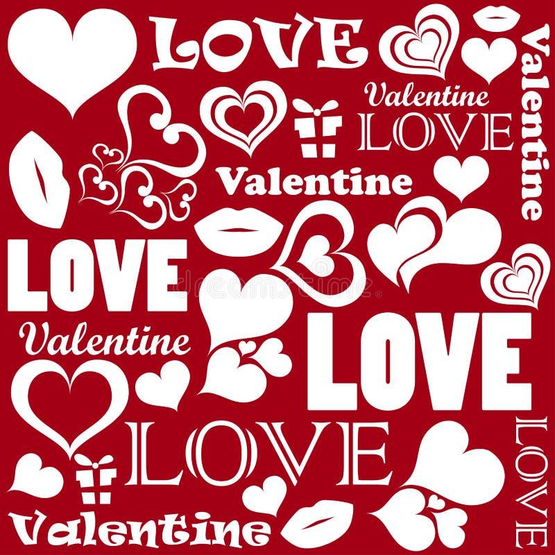 Valentine-patroon met liefdesymbolen vector illustratie