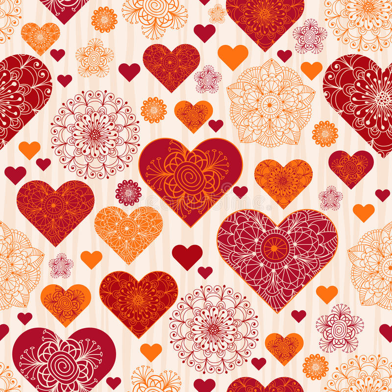 Free Valentine Pattern With Red And Orange Vintage Hearts Royalty Free Stock Photos - 82138758