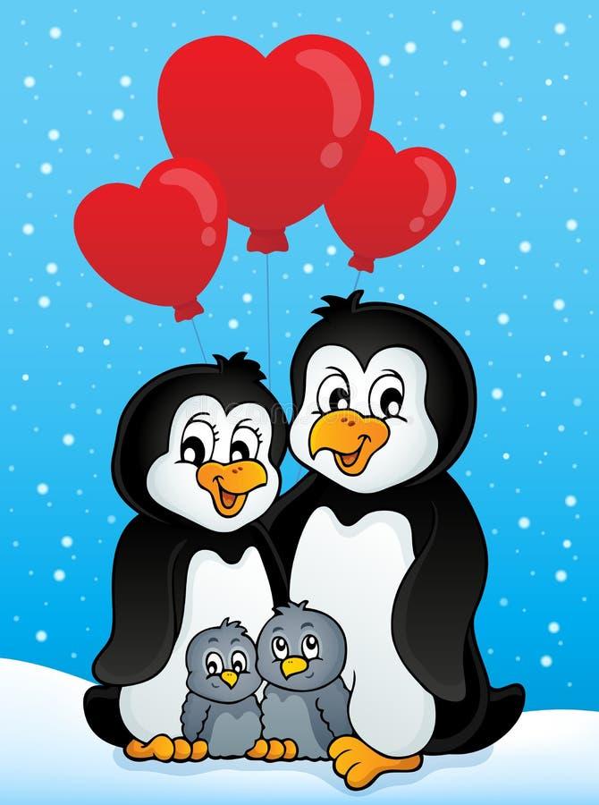 Valentine penguins in snow. Eps10 vector illustration stock illustration