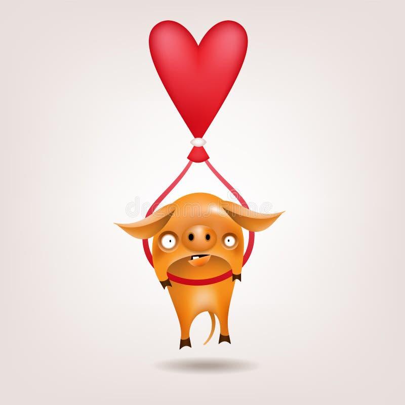 Valentine pig ballonning stock illustration