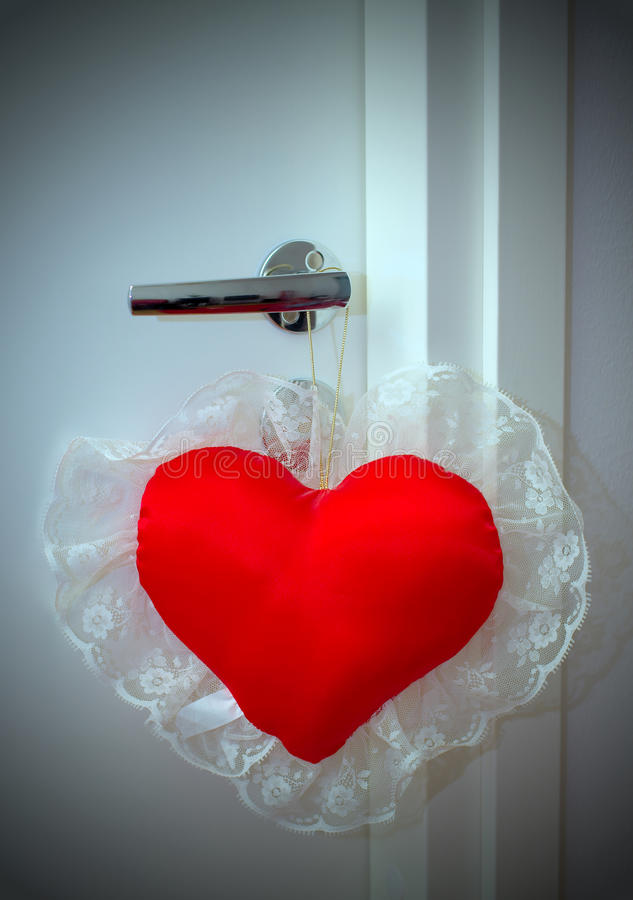 Valentine Pillow On Doorknob Royalty Free Stock Photo