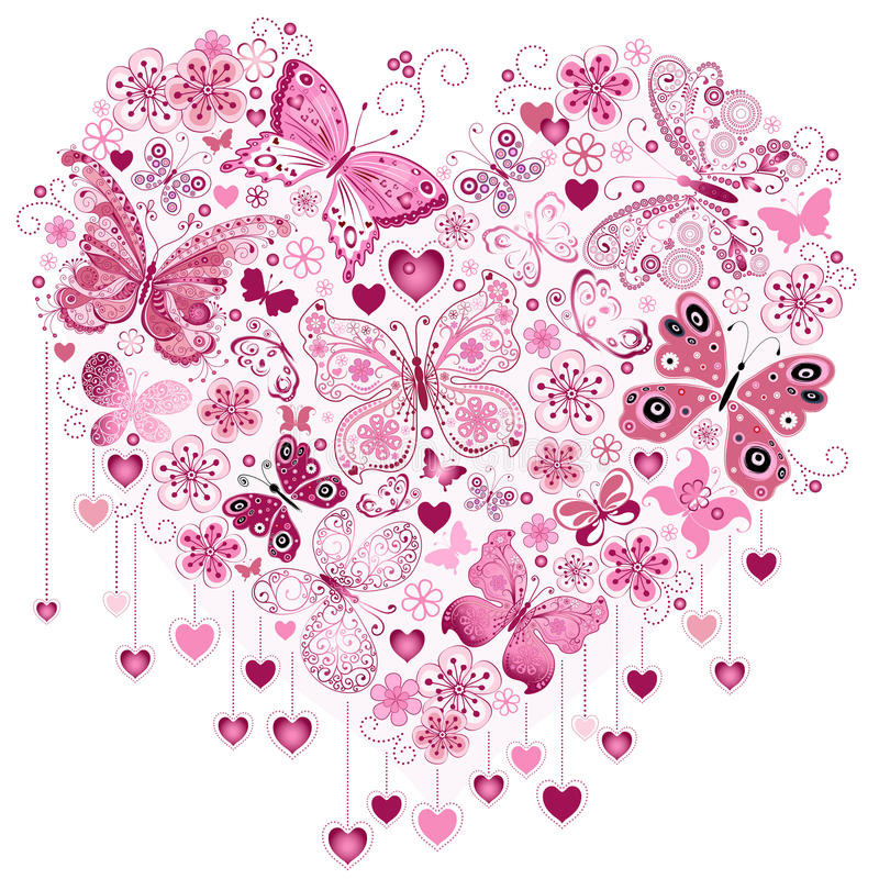 Valentine pink big heart. With butterflies isolated on white (vector royalty free illustration