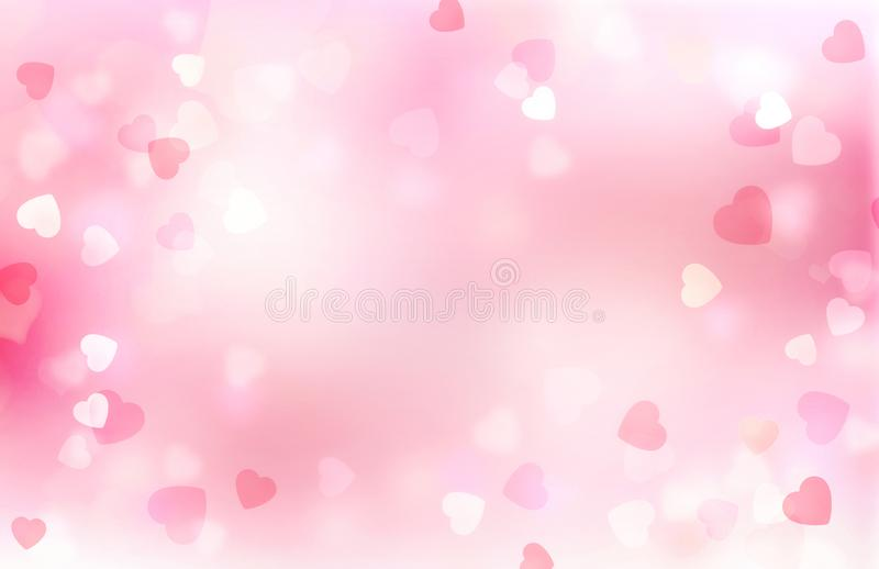 Valentine pink blurred hearts background vector illustration