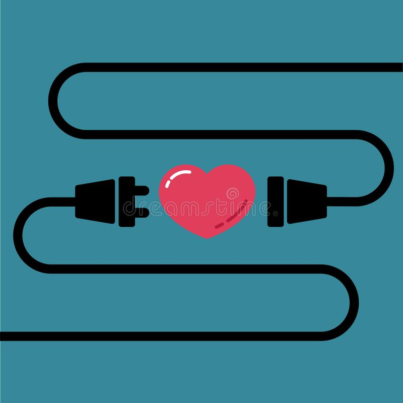 Male and Female plug to connect for love and heart for Valentine`s day royalty free illustration