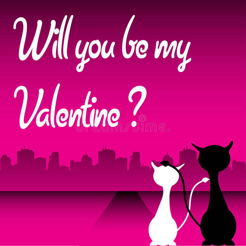 Valentine postcard with cats royalty free stock photo