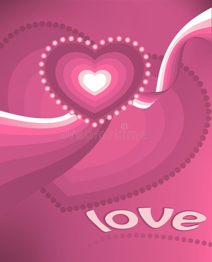 Valentine postcard - Pink hearts royalty free stock images