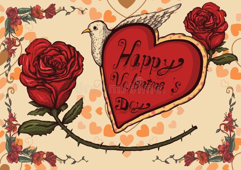 Valentine poster. Valentine card and valentine day poster,vintage postcard,vector illustration royalty free illustration