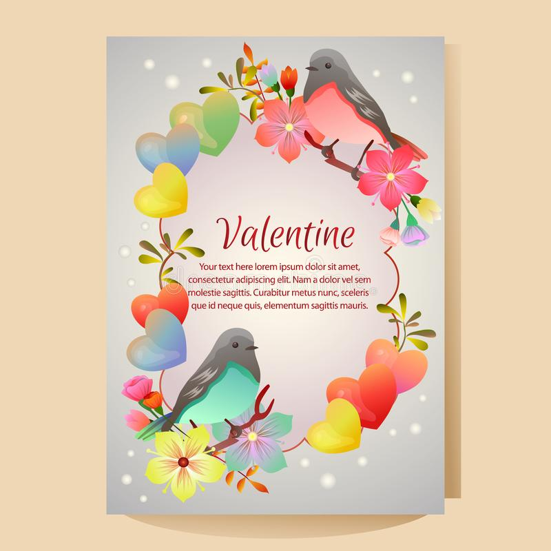 Valentine Day Poster Angel Statue Vector Illustration