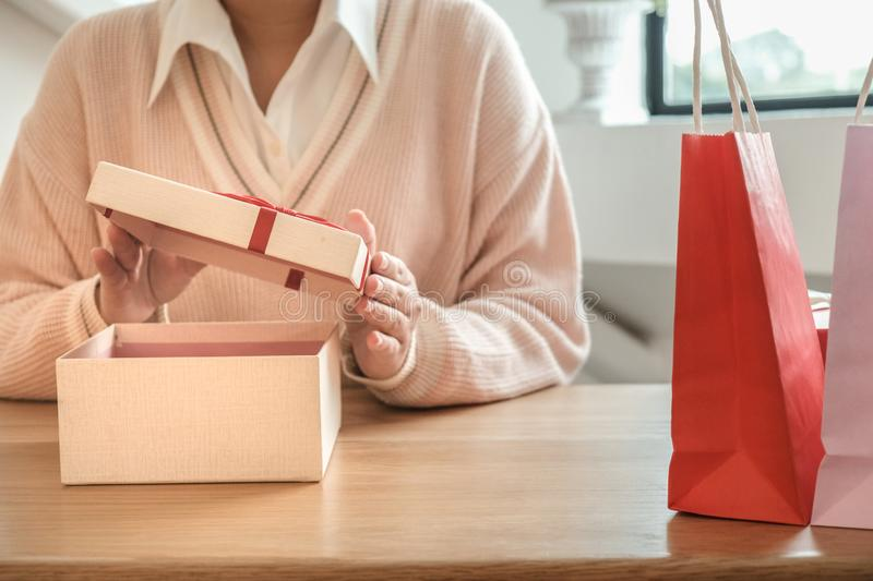 Valentine present. Gift box and red ribbon for romantic couple royalty free stock photo
