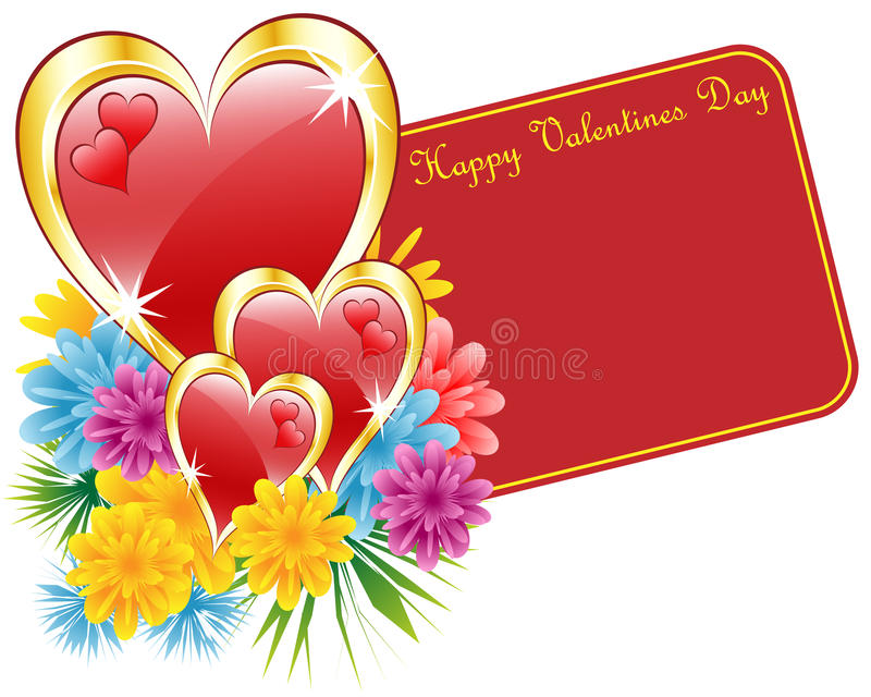 Valentine red and gold heart and flowers stock illustration
