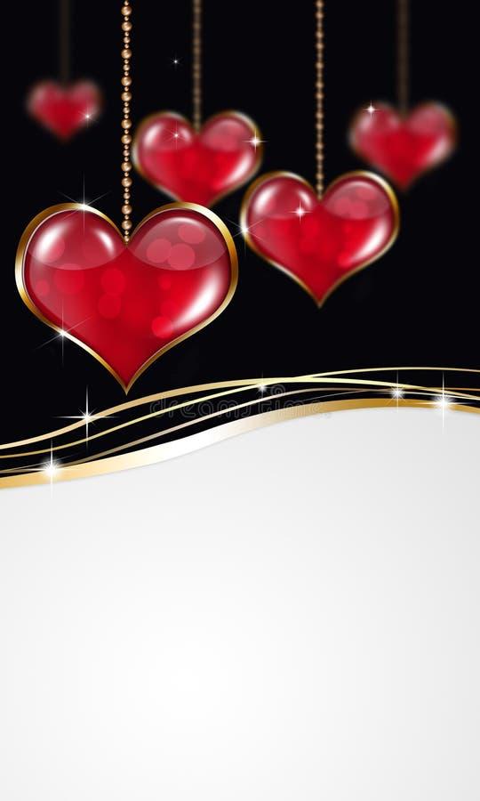 Valentine Red Hears Banner royaltyfri illustrationer