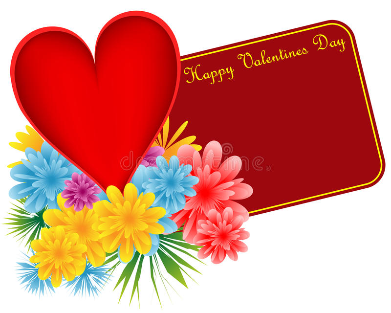 Valentine red heart and flowers stock illustration