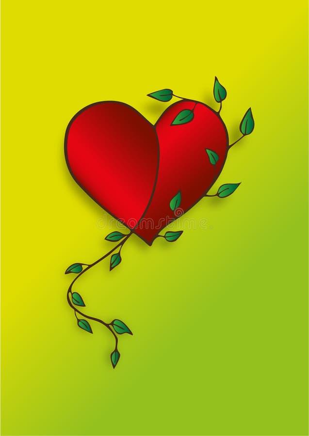 Valentine Red Heart Leaf Spring arkivfoton