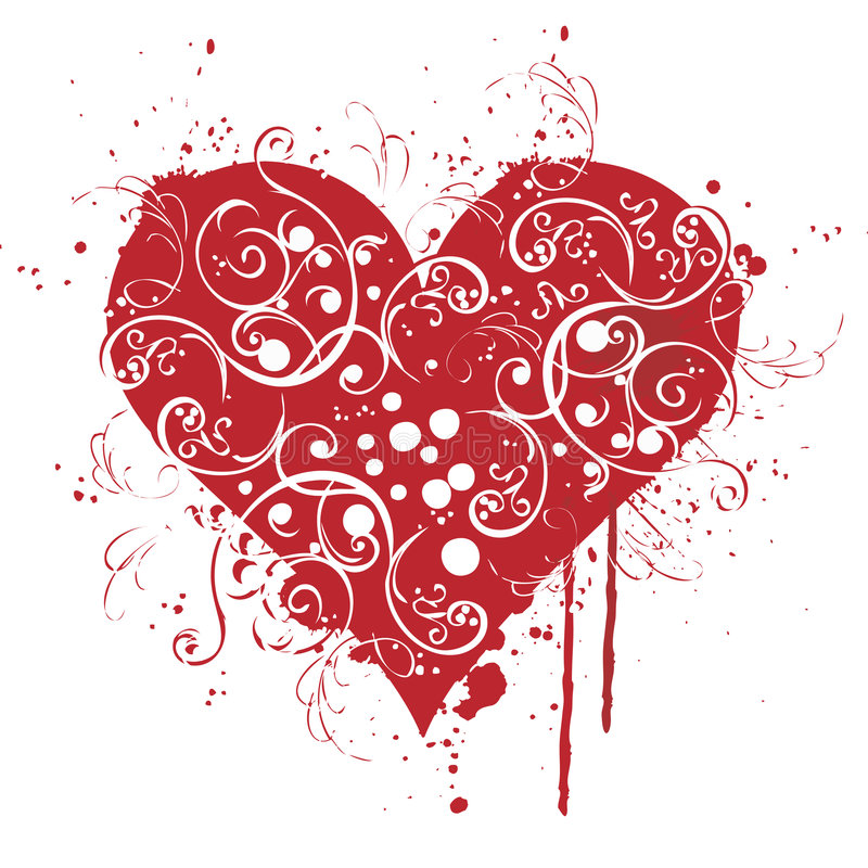 Valentine, red, Heart, love. A red beautiful heart with carving...lovely heart royalty free illustration