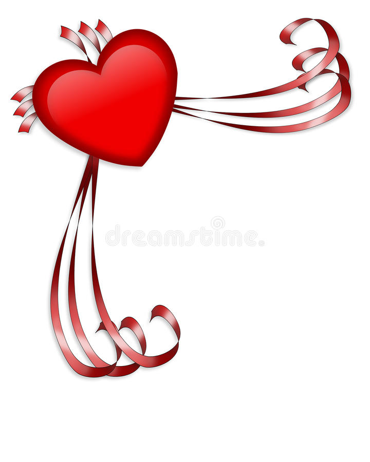 Valentine red heart and ribbons stock images