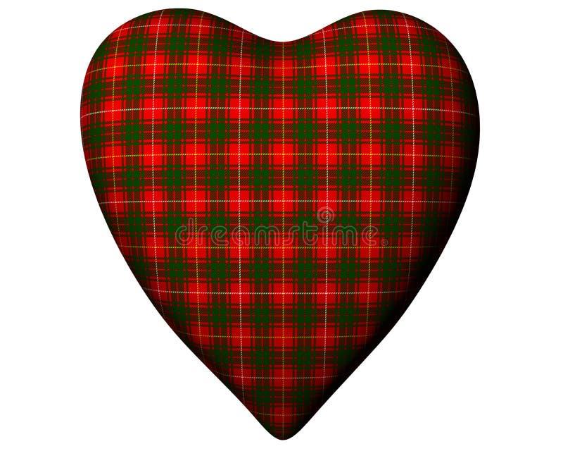 Valentine Red Heart Scottish Bruce Tartan Textured royalty free illustration