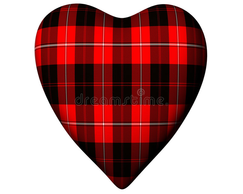 Valentine Red Heart Scottish Cunningham Tartan vector illustration