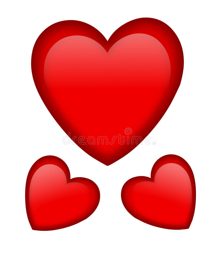 Valentine red hearts graphic stock image