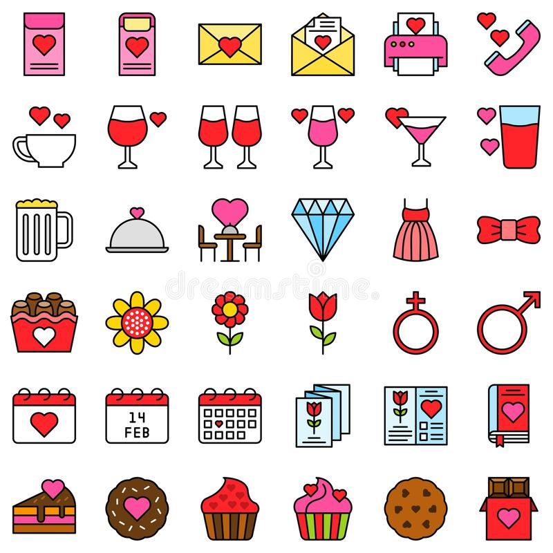 Valentine related vector icon set, filled style editable outline. Valentine related vector icons set, filled design editable outline vector illustration