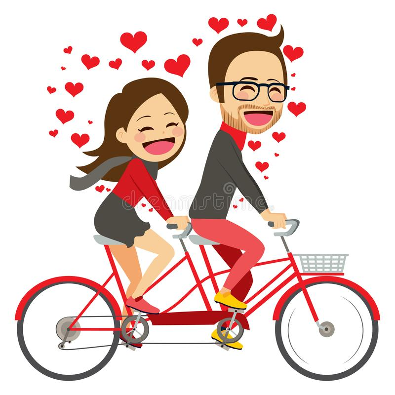 Valentine Riding Bicycle Couple lizenzfreie abbildung
