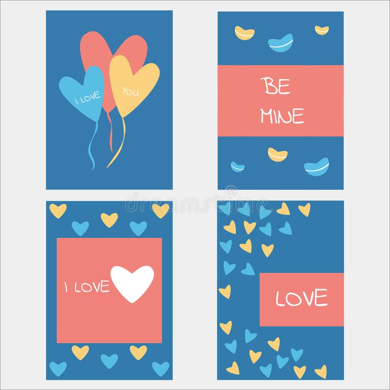 Valentine or romantic love day concept design set collection. For banner, wallpaper, greeting card or poster and other stock illustration