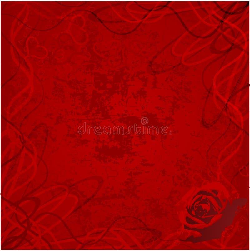 Valentine rose with grunge hearts background vector illustration